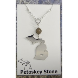 Petoskey Stone Michigan Necklace Heart Cut Out