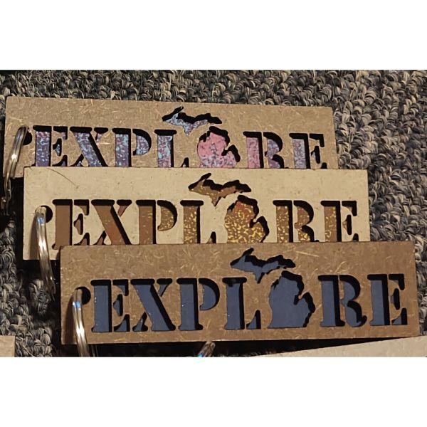 EXPLORE Michigan Layered Wood Keychain