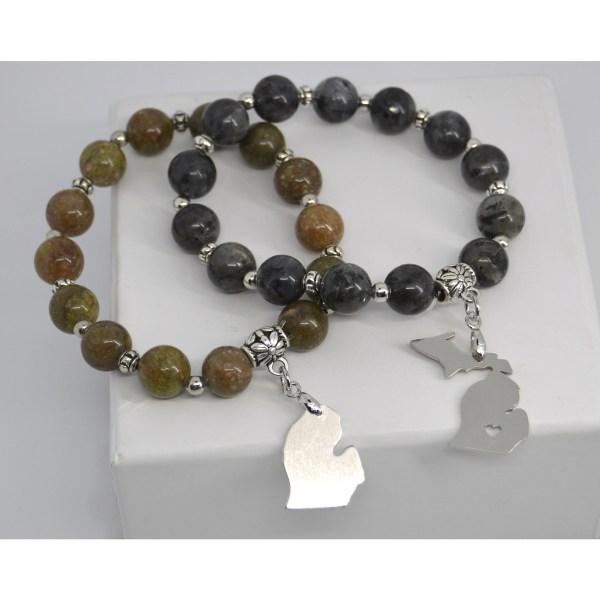 Michigan Charm Gemstone Bracelets Green Unikite and Grey Labradorite