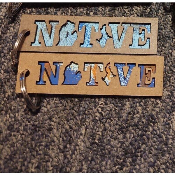 Michigan NATIVE Layered Wood Keychains
