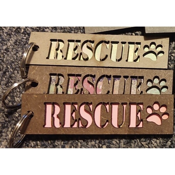 RESCUE Layered Wood Keychains