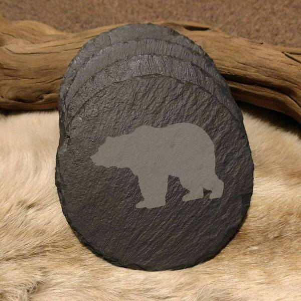 Bear Walking Slate Coaster