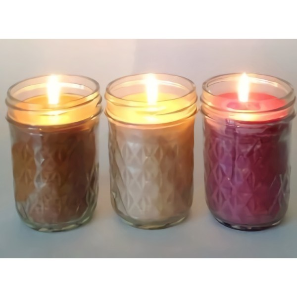 Lit Scented Soy Candles 8 oz Mason Jar