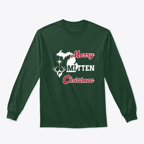 Merry Mitten Christmas Long Sleeve Shirt Forest Green
