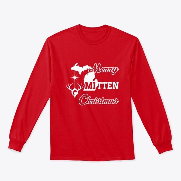 Merry Mitten Christmas Long Sleeve Shirt Red