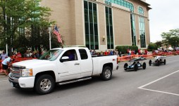 Muscatine Soapbox Derby 2016 cars pulled back up the hill