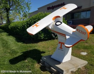 University of Tennessee branded, white and orange sculpture on the ground