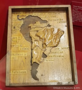 Wooden map that had to be hand carved