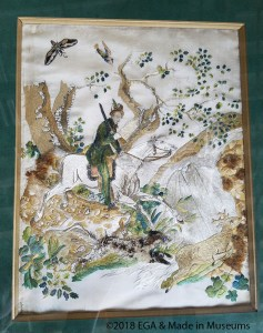 Hunting scene using the surface embroidery technique