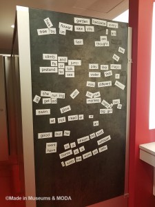 Lifesize magnetic poetry on the wall of the women's bathroom