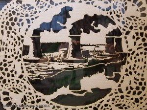 Doily depicting Three Mile Island