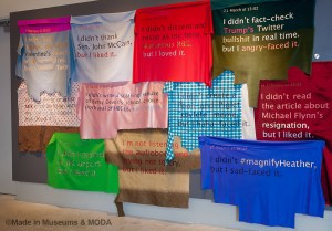 Scraps of fabric with text from social media tweets and posts