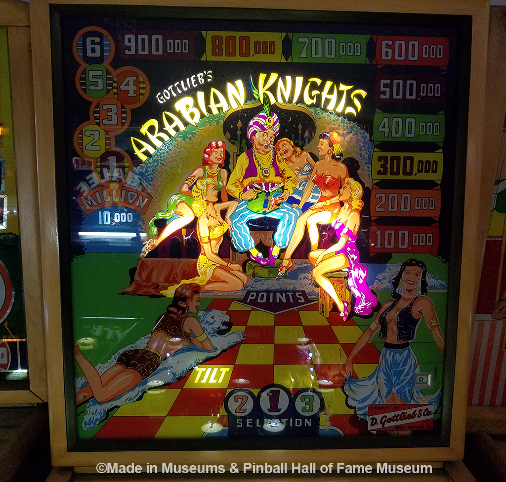 The Arabian Nights backglass design is an example of pinball machines targeted to adults instead of kids