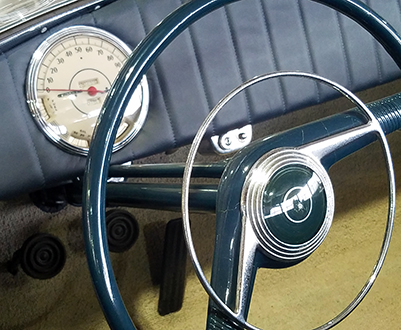 Close-up of steering wheel
