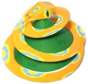 Papercraft imprimible y armable de una serpiente de juguete hecha de papel. Manualidades a Raudales.