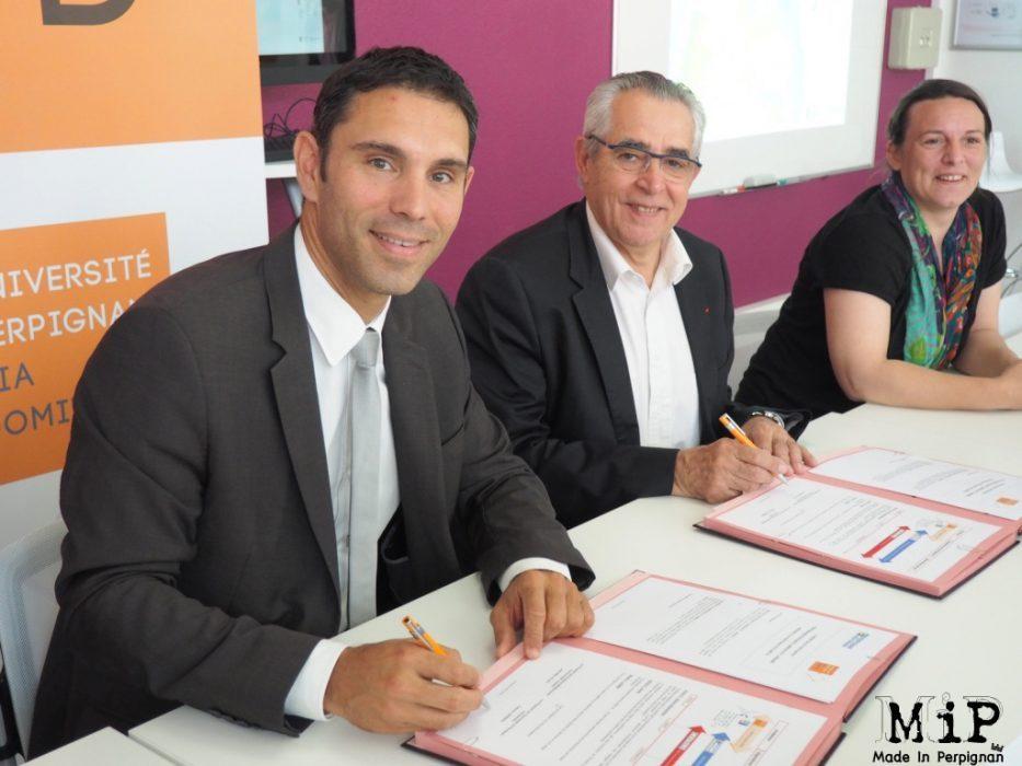 De gauche à droite Fabrice Lorente - Jean Marc Pujol et Anabelle Brunet