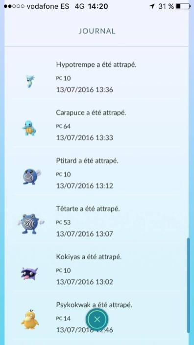 Liste des pokémons capturés