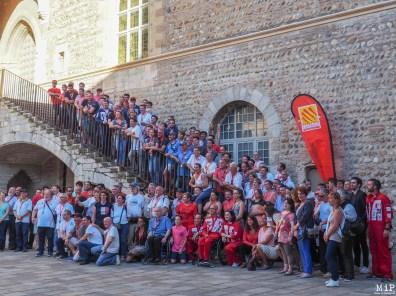 Les Chevaliers du Ciel lors du dîner des partenaires organisé la veille de l'étape catalane