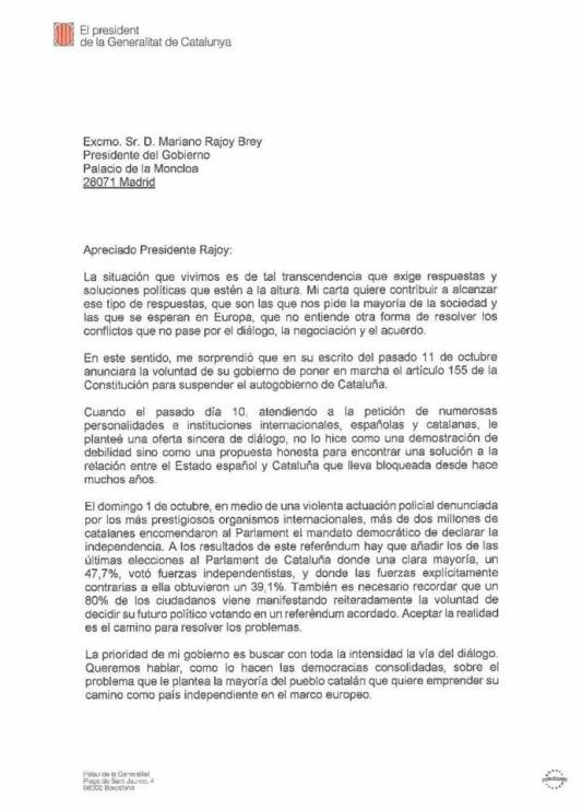 Carles Puigdemont à Mariano Rajoy 1:2