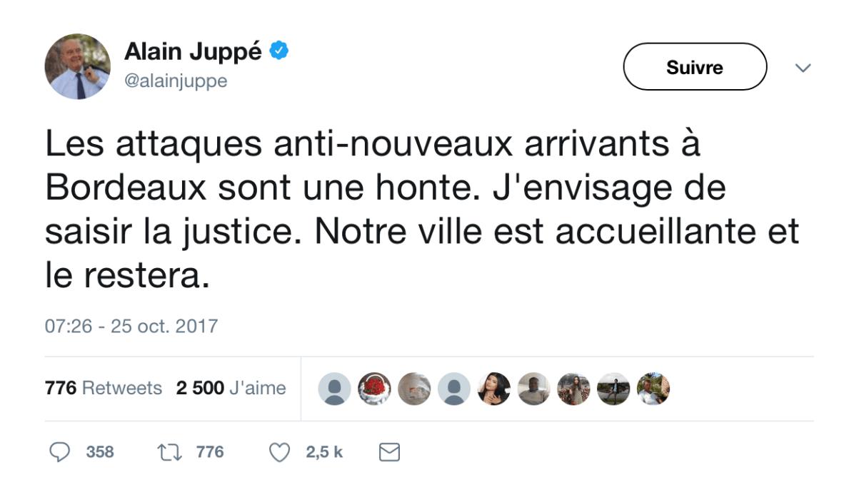 Tweet Alain Juppé qui envisage de porter plainte contre la campagne Anti parisiens