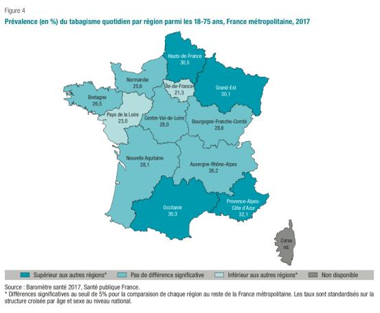 Prévalence (en %) du tabagisme quotidien par région parmi les 18-75 ans, France métropolitaine, 2017 - Baromètre Santé 2017