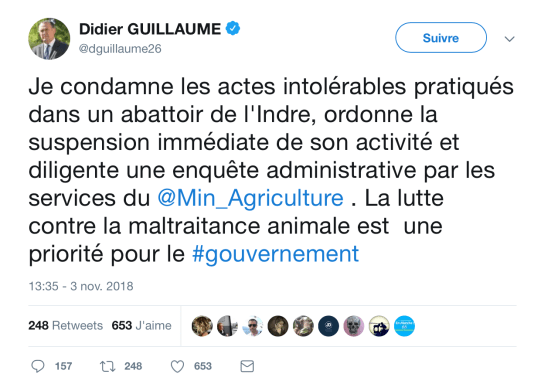 Tweet de Didier Guillaume - Abattoir communal du Boischaut