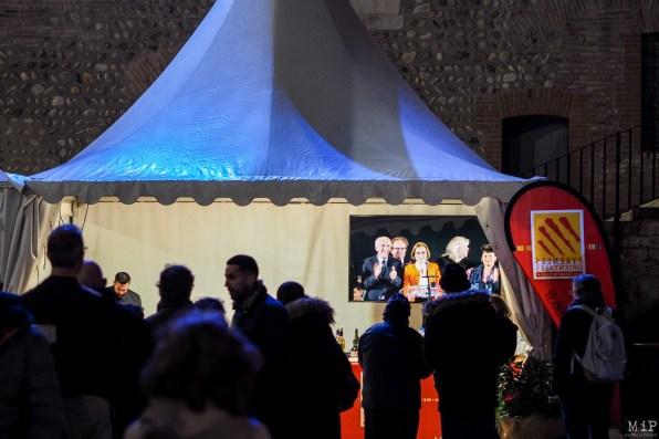 La salle prévue pour les vœux étant comble, les convives ont suivi le discours via un écran installé à cet effet