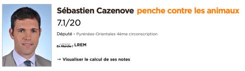 Sebastien Cazenove noté par le site Politique et Animaux