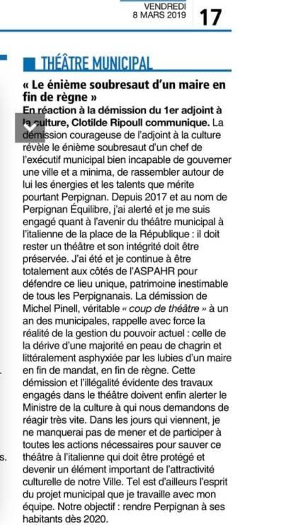 Communiqué de presse de Clotilde Ripoull
