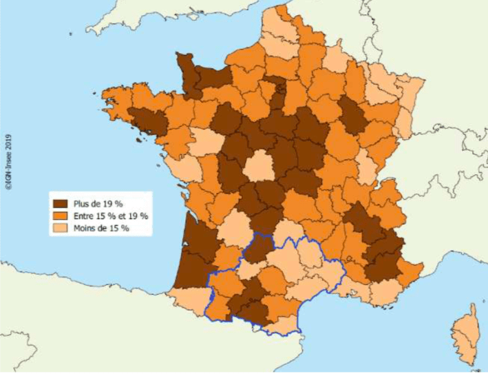 Proportion de femmes maires par département en 2018 (en %) - Source ministère de l'Intérieur, Répertoire national des élus