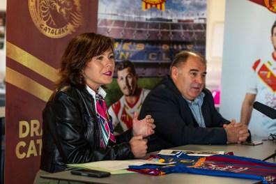 Carole Delga - Présidente de la région Occitanie-Pyrénées-Méditerranée et Bernard Guasch président des Dragons Catalans