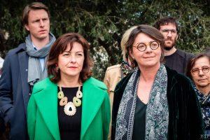 José Bové Avec Agnès Langevine, la présidente de la Région, Carole Delga, et la présidente du Conseil Départemental Hermeline Malherbe ils ont visité les laboratoires de recherche et le domaine agricole biologique de l'Université de Perpignan.