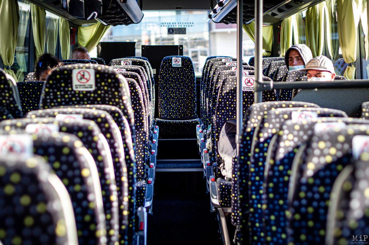 20/05/2020 Perpignan, France, Illustration Car Bus Covid-19 mesures de distanciation sociale © Arnaud Le Vu / MiP / APM