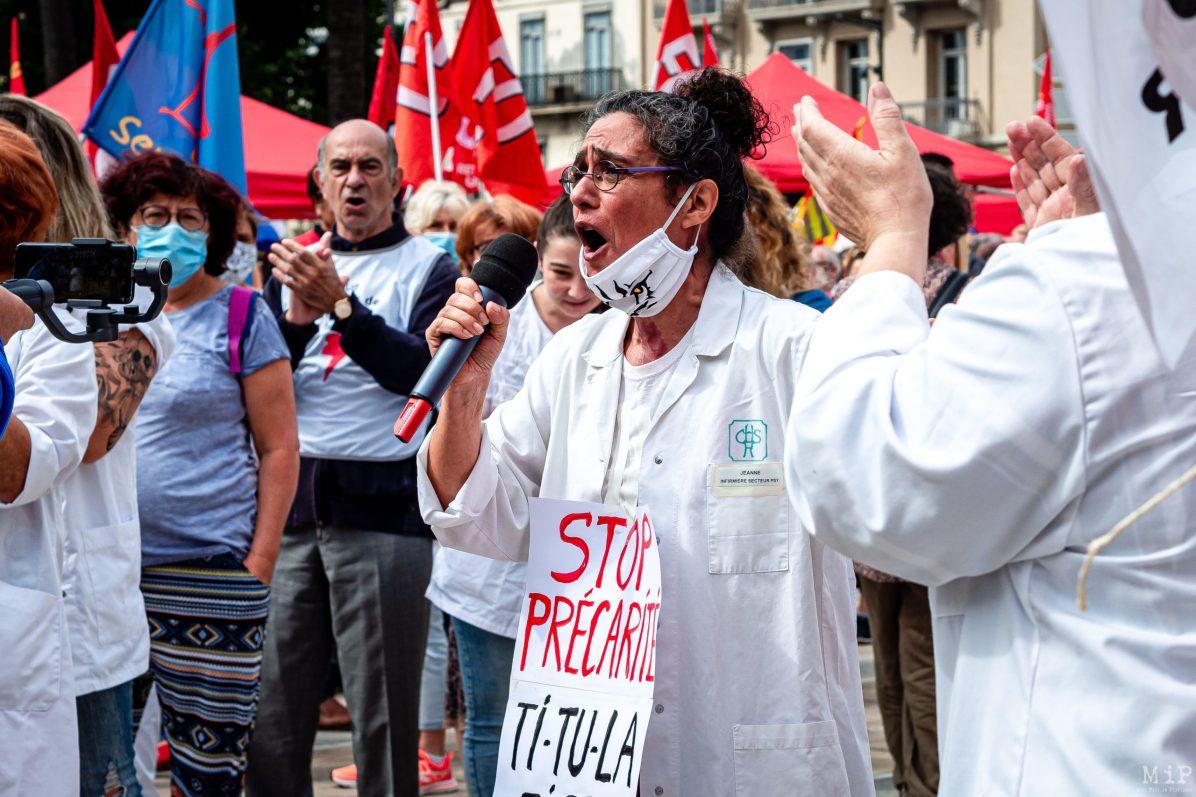 16/06/2020, Perpignan, France, Manifestation soignants hôpital public et privé