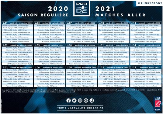 PRO D2 | LE CALENDRIER DE LA SAISON 2020/2021 - 1