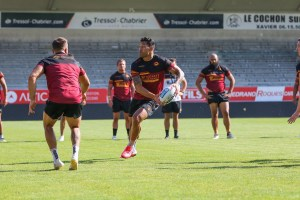 Folau et les Dragons Catalans à l'entraînement le 20 juillet. Photo © Dragons Catalans