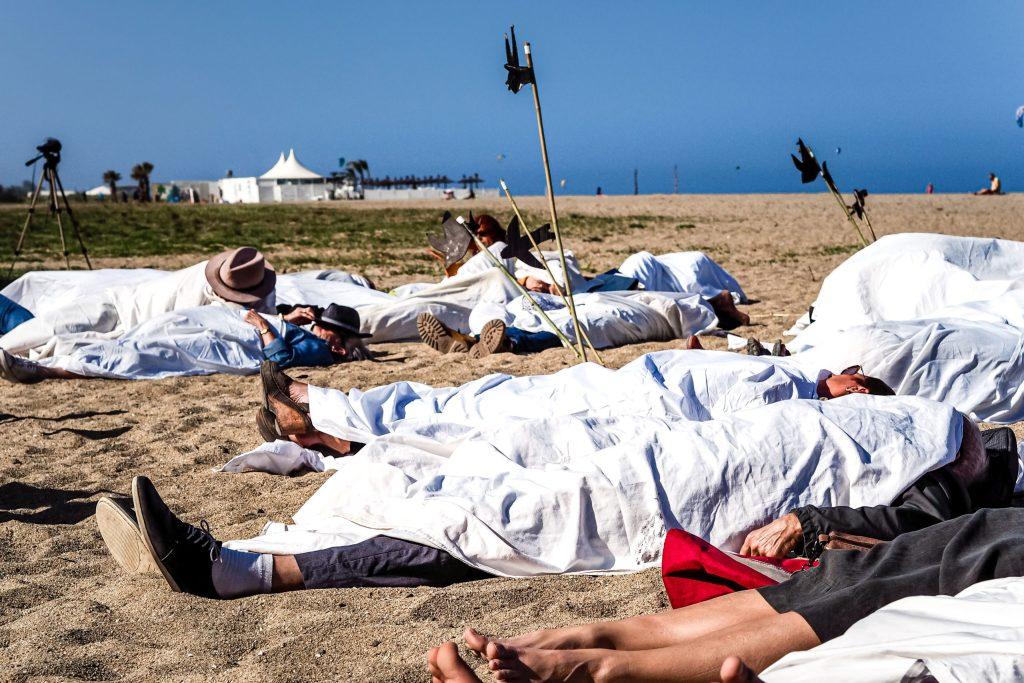 21/04/2018, Argeles-sur-Mer, France, Manifestation pro migrants © Arnaud Le Vu / MiP