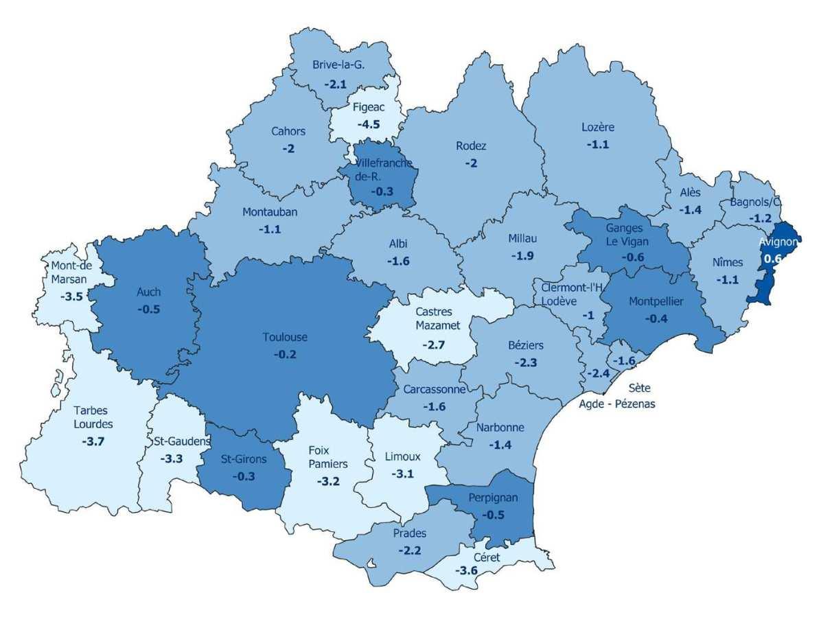 Evolution annuelle des effectifs salariés par zone d'emploi (en %) - Source Acoss - Urssaf