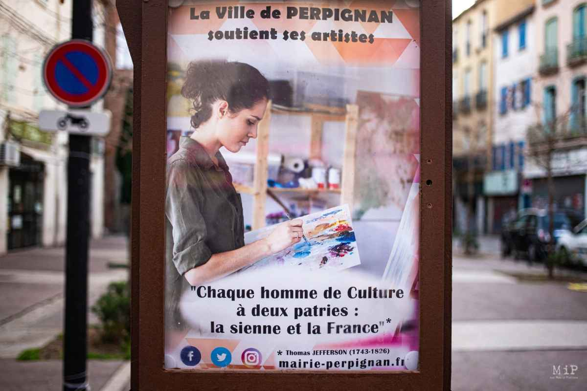 FRANCE - ILLUSTRATION - CITY HALL OF PERPIGNAN - COMMUNICATION PANELS - CULTURE AND FATHERLAND