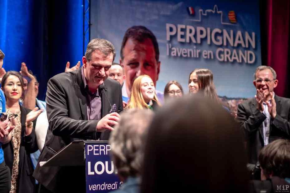ARCHIVES 31/01/2020, Perpignan, France, Louis Aliot Thierry Mariani meeting campagne Municipales Perpignan © Arnaud Le Vu / MiP