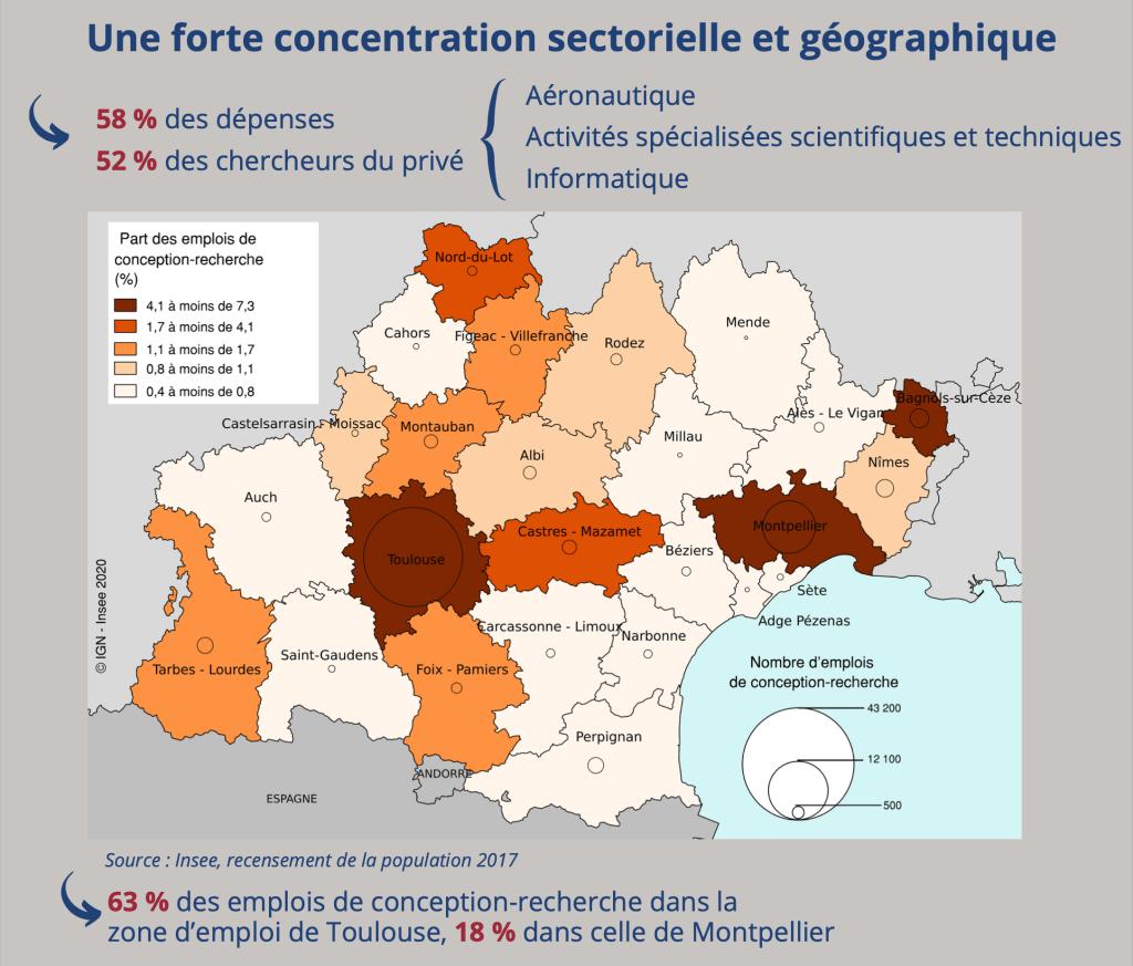 Nombre et part des emplois de conception-recherche par zone d'emploi en Occitanie en 2017 © Source : Insee, recensement de la population 2017