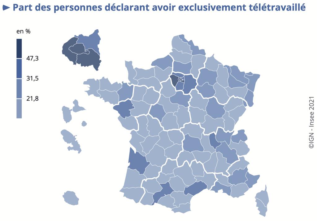 En mai 2020, à Paris, 65 % des personnes qui avaient travaillé la semaine précédant l'enquête déclarent avoir exclusivement télétravaillé, contre 28 % en France.