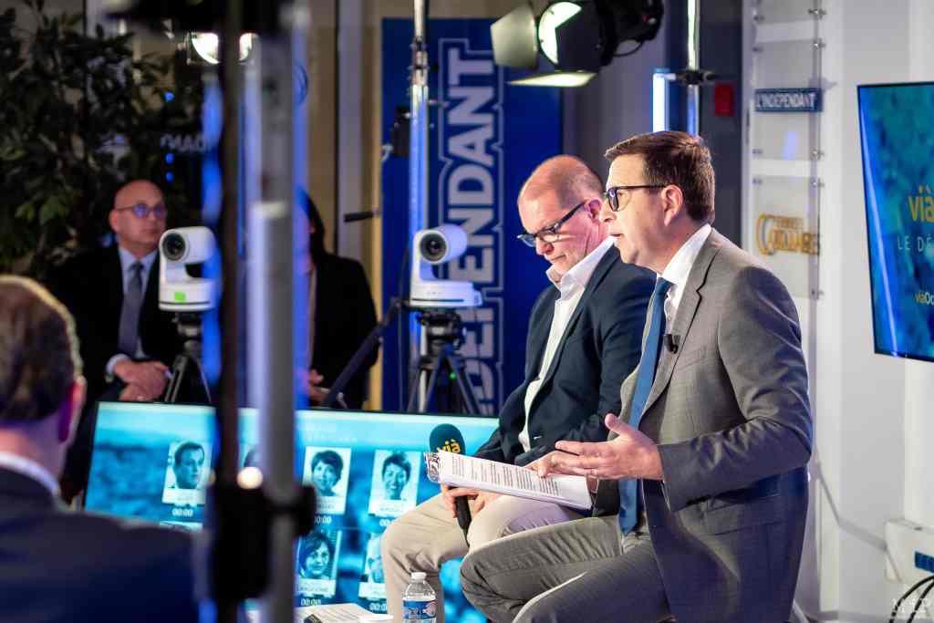 03/03/2020, Perpignan, France, Olivier Roirand co-anime le débat des Municipales L'Indépendant Via Occitanie © Arnaud Le Vu - MiP
