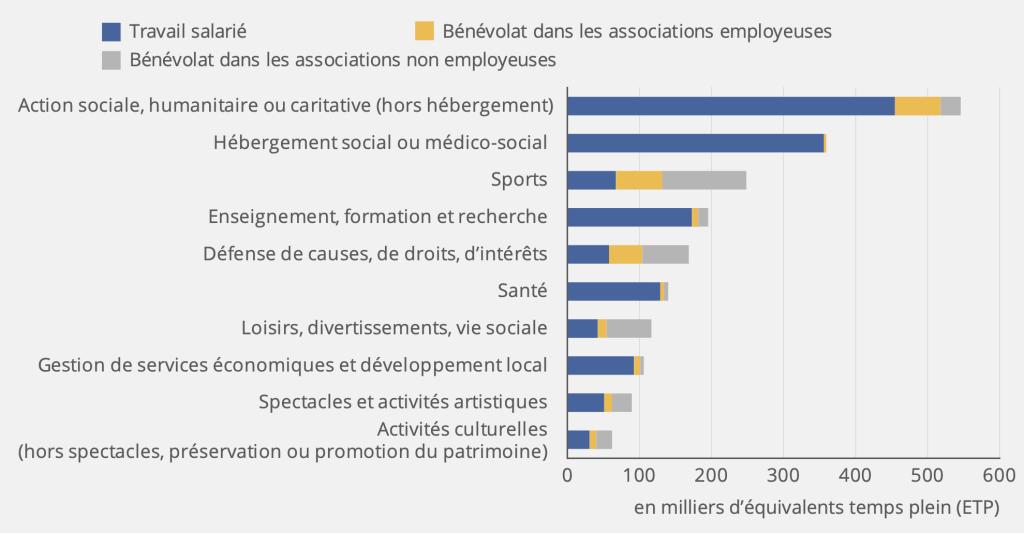 Ressources humaines salariées et bénévoles des associations employeuses* et non employeuses par domaine d'activité principal. Source INSEE