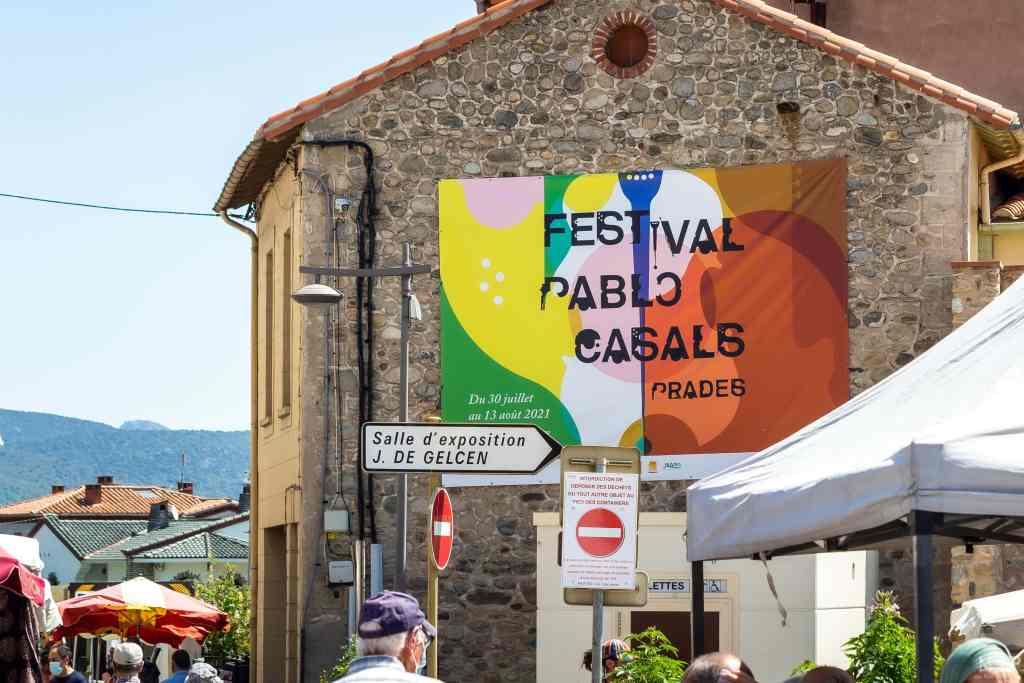 France, Prades, 2021-06-15. Illustration, Poster of the Pablo Casals Classical Music Festival . Photograph by Arnaud Le Vu / Hans Lucas.France, Prades, 2021-06-15. Illustration, Affiche du festival de musique classique Pablo Casals . Photographie de Arnaud Le Vu / Hans Lucas.