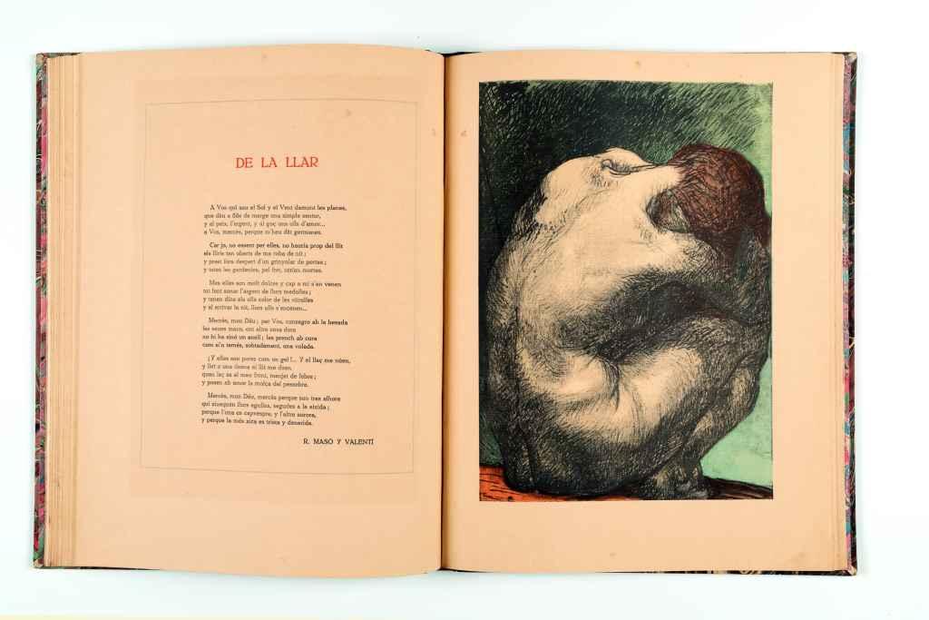 A gauche, un poème de Rafael Masó ; à droite, gravure de Pablo Gargallo dans l'Almanach des Noucentistes. Image reproduite avec l'aimable autorisation de la fondation Rafael Masó. Le 6 octobre 2021.