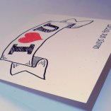 Always and Forever Recycled Paper Valentine Notecard, Hand-Lettering: I love you always and forever, blank inside