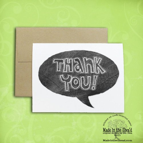 thank you! Chalkboard Lettering Design Thank You Card on Recycled Paper thank you note, teacher thank you