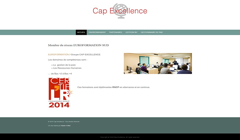Cap Excellence - Un site réalisé par Made in Web