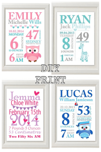 Custom Baby Birth Print Announcement Nursery Wall Art ...